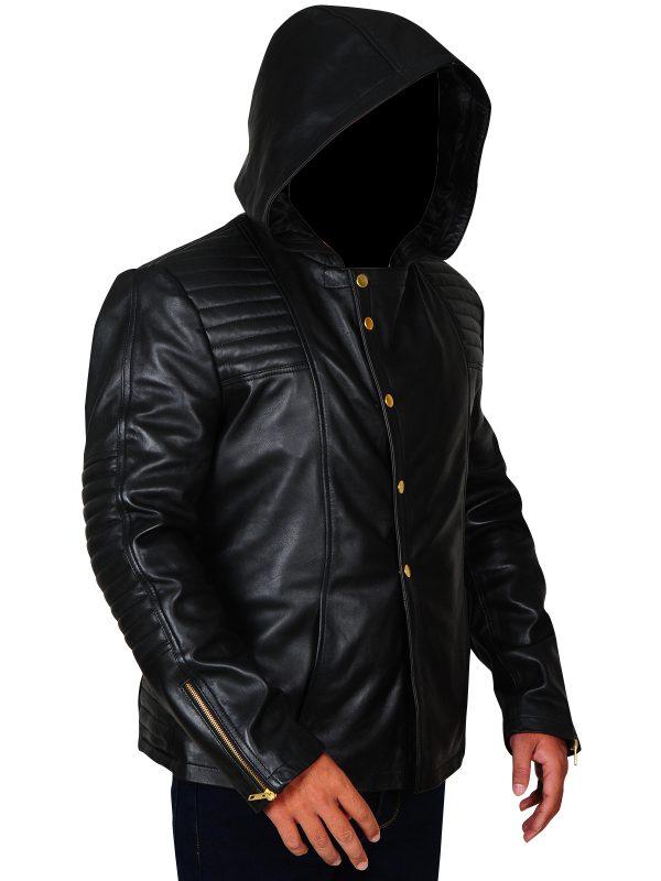 men black hoodie jacket, hooded leather jacket,