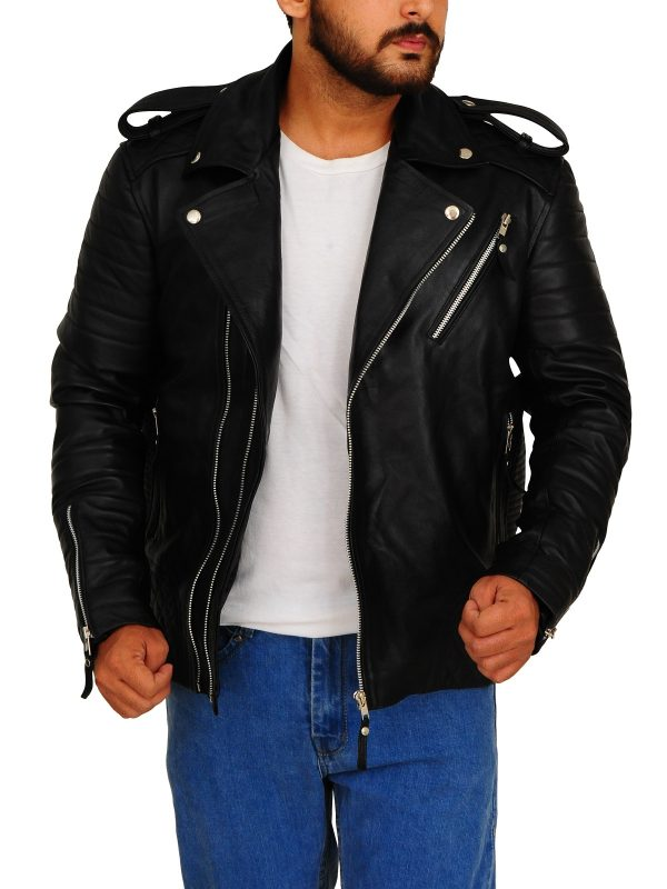 black biker leather jacket, biker leather jacket for men,