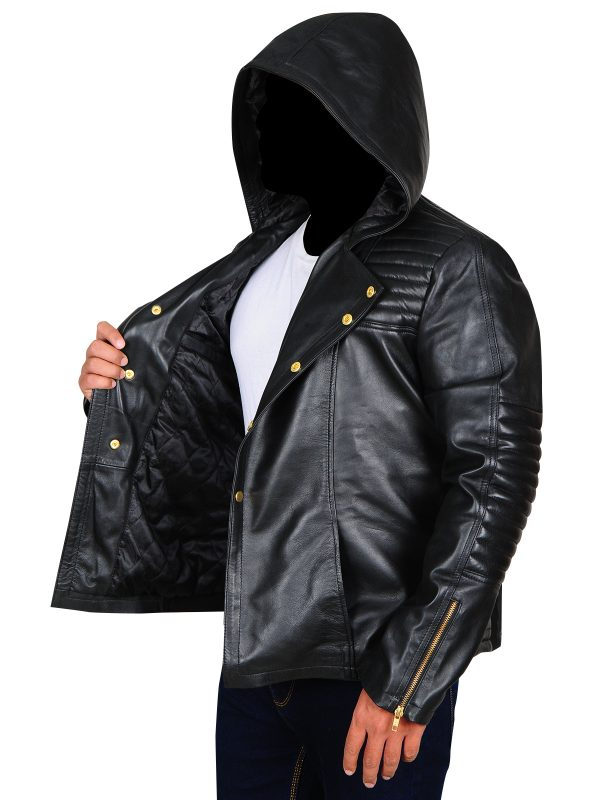 cosplay black leather jacket for men, cosplay costume in black leather,