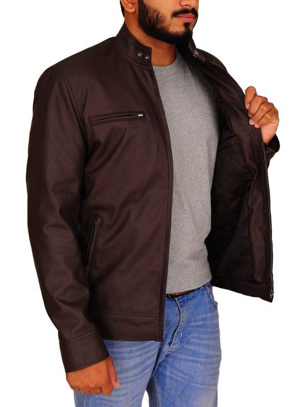 dark brown men leather jacket, simple brown men leather jacket,