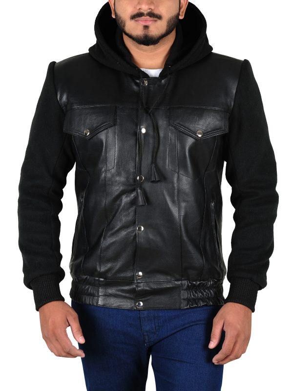 men black leather jacket, fleece plus leather jacket,