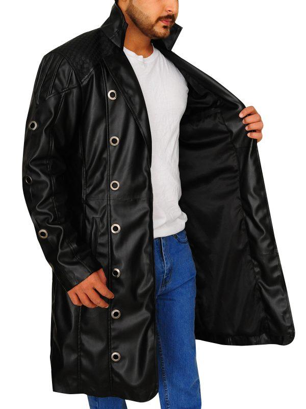 leather long coat for men, men leather long coat,
