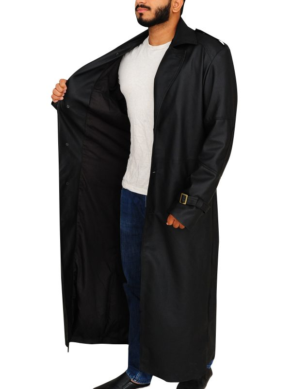 trending black trench coat, leather trench coat for men,