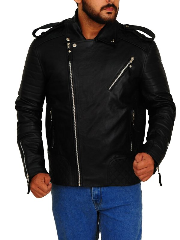moto biker men jacket, moto leather black jacket,