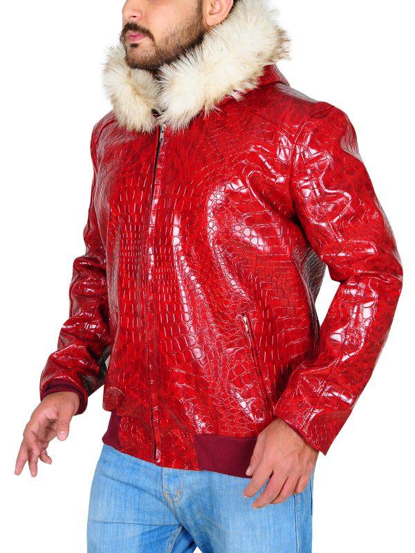 crocodile leather jacket men, men hoodie leather jacket,