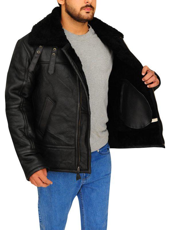 men bomber black sheepskin leather jacket, sheepskin black leather jacket for men,