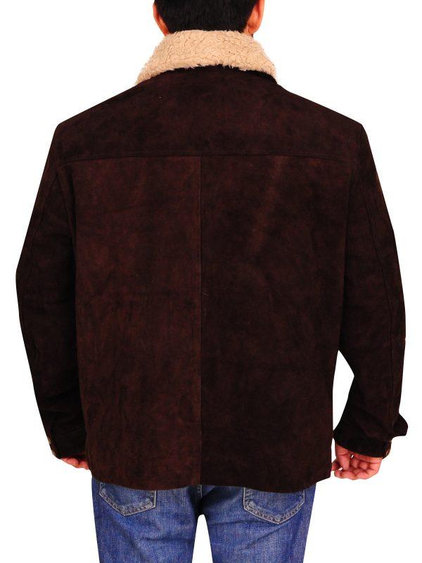 men faux fur suede leather jacket, chestnut brown suede leather jacket,