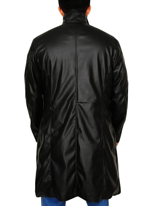 black long leather jacket, men long jacket,