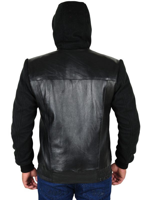 back hoddie leather jacket, back hoodie men jacket,