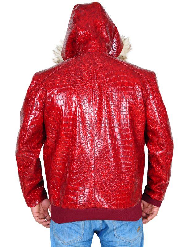 crocodile skin leather jacket, trending red men leather jacket,