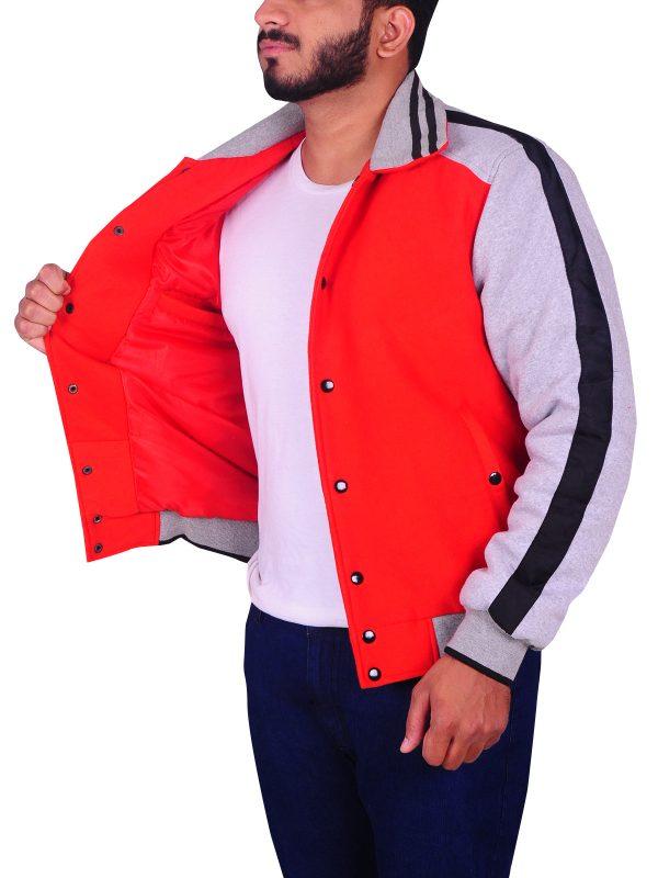 red and grey fleece jacket, fleece varsity jacket,