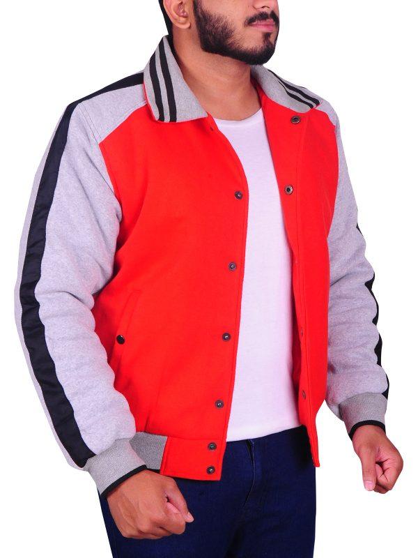 ryan gosling varsity jacket, ryan gosling red varsity jacket,