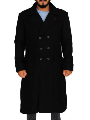 men black trench coat, black wool coat for men,