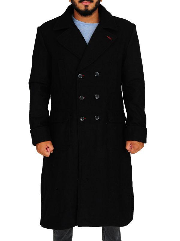 men black trench coat, black wool coat for men,