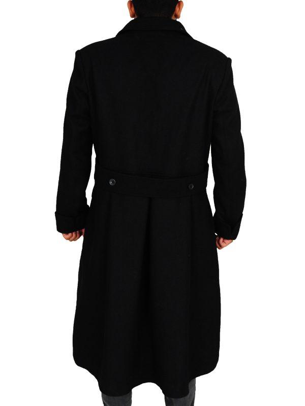 black long coat for men, wool long coat for men,