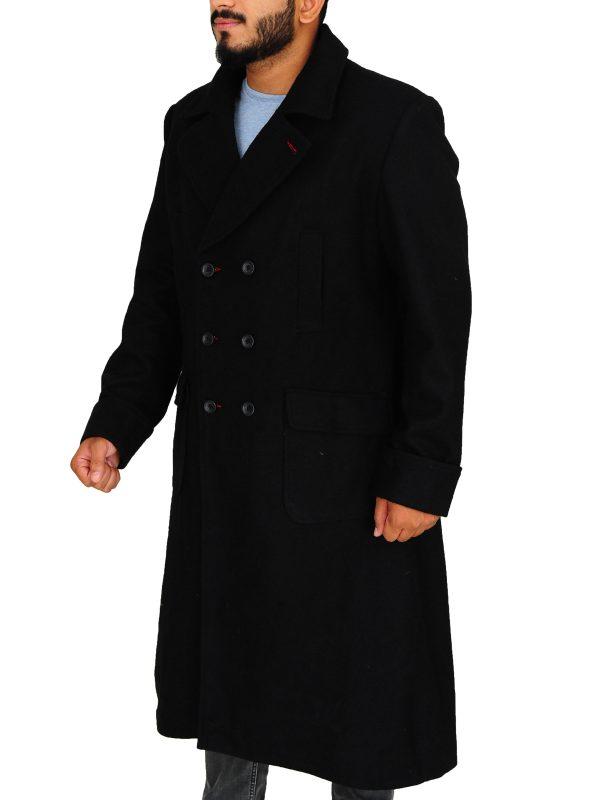 stylish sherlock holmes coat, trending men black wool long coat,