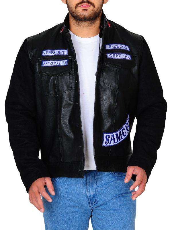 black biker men jacket, black biker leather jacket,