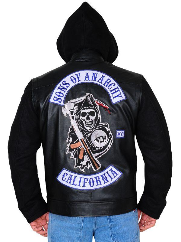men leather jacket with hoodie, men black jacket with hoodie,