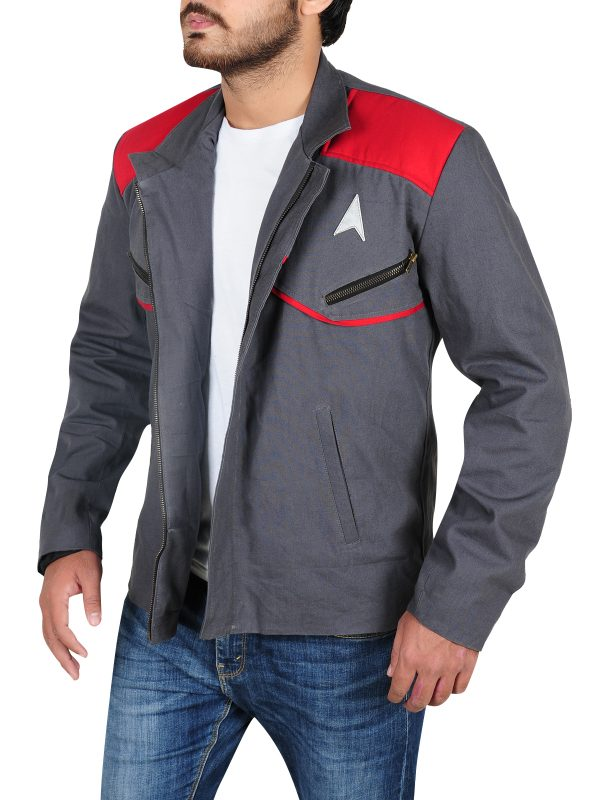 star trek beyon commander jacket, grey cotton jacket,