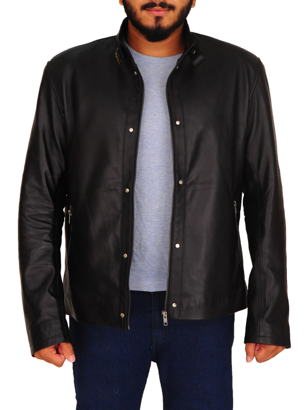 trending black leather jacket, men leather jacket in black,