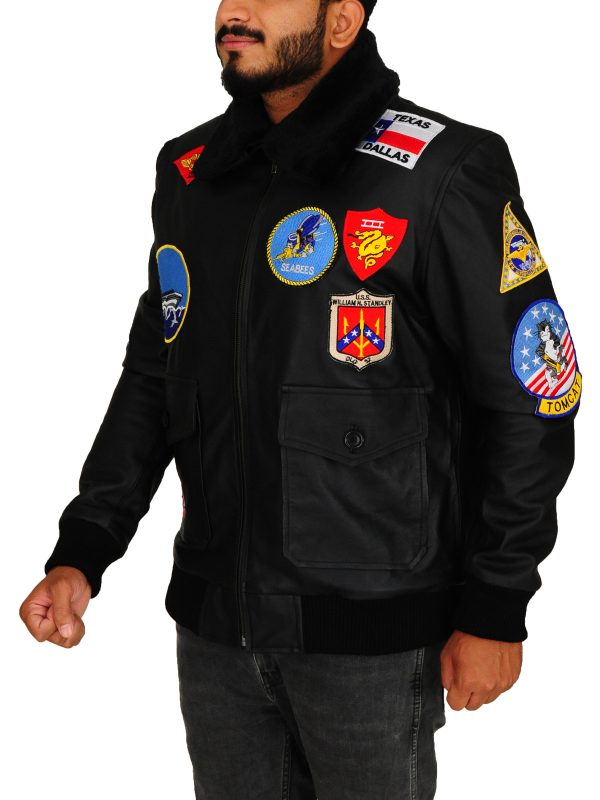 tom cruise bomber jacket, men black bomber leather jacket,