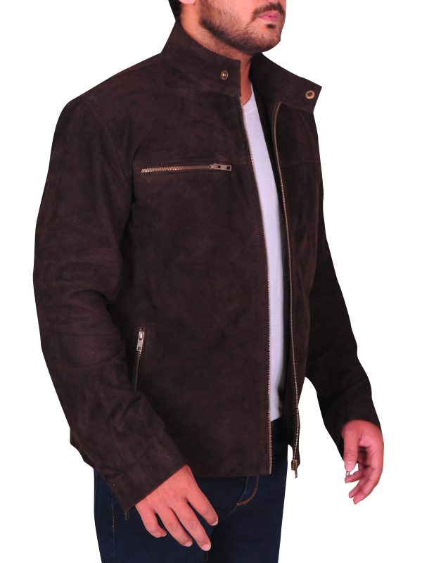 brown leather jacket for men, men brown suede leather jacket,