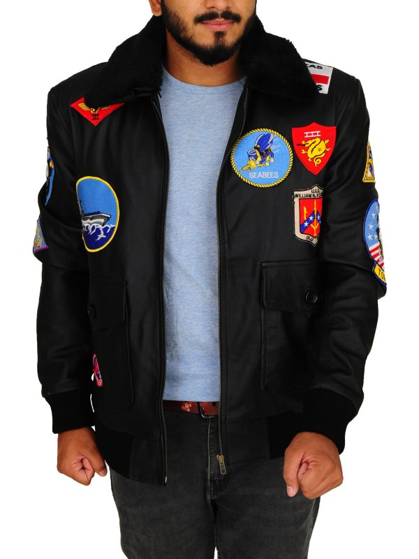 top gun vintage black jacket, vintage top gun tom cruise jacket,