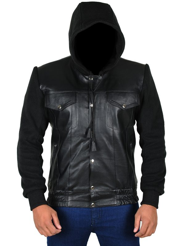 dashing black leather jacket, dope black men jacket,