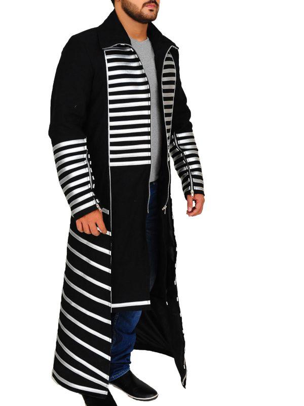 black men coat, white strip coat