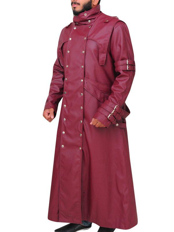 vash the stampede maroon leather coat, maroon vash leather coat,