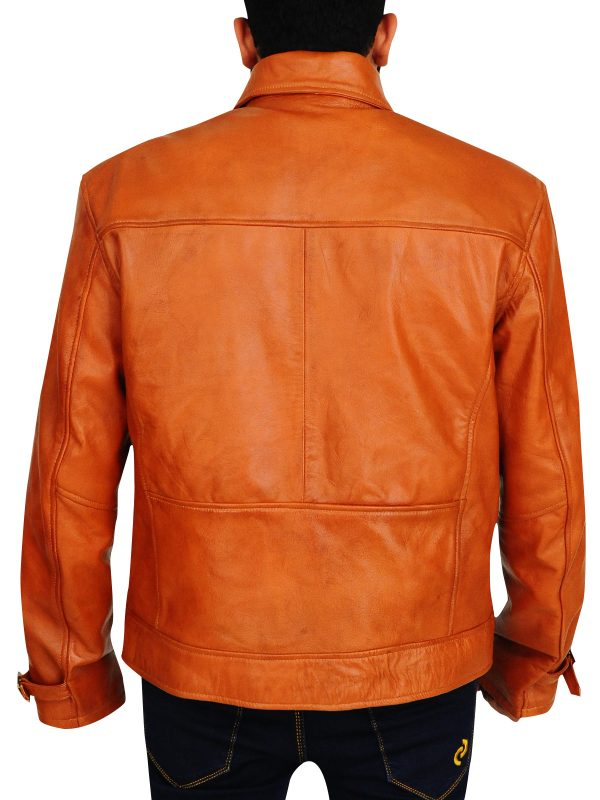 celebrity brown leather jacket, vintage leather jacket,