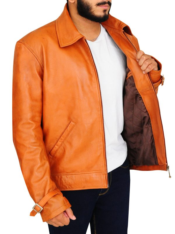 retro leather jacket, brown biker leather jacket for men,