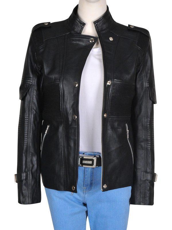 black biker women jacket, black biker style women leather jacket,