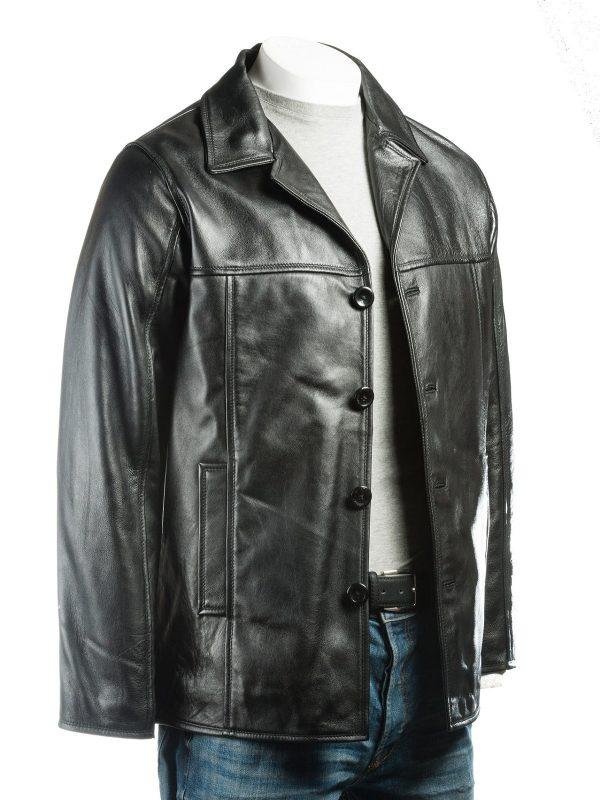 black leather jacket, men jacket