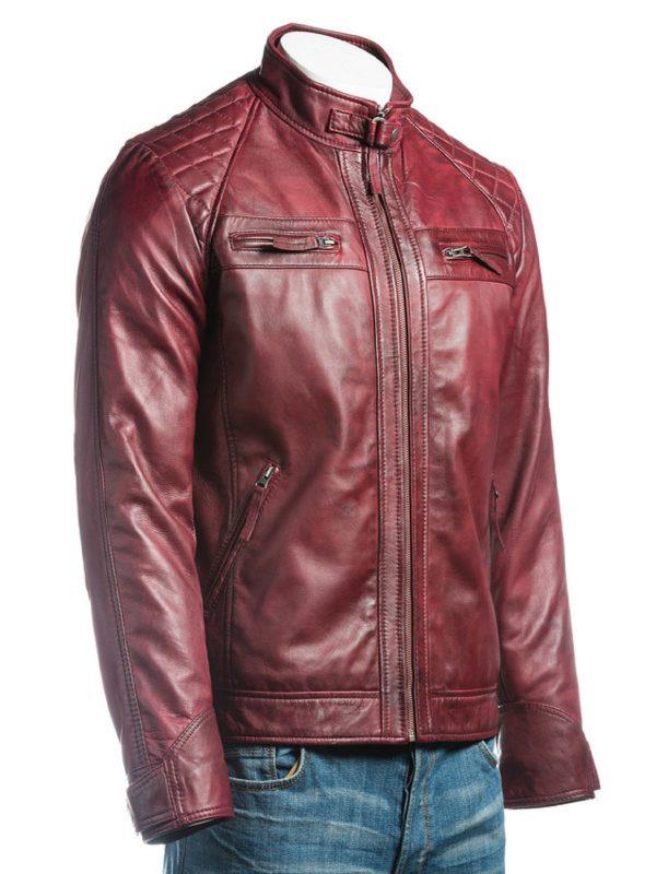 faux leather jacket, maroon jacket