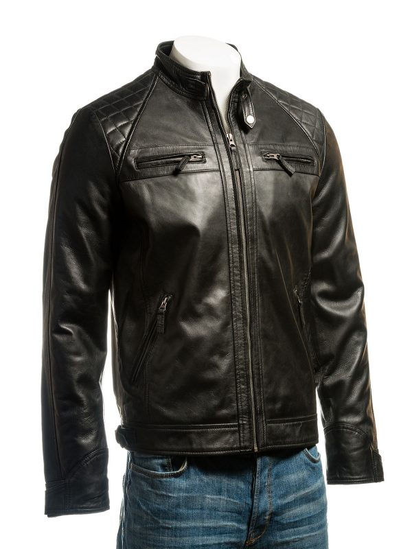 Faux leather, black men jacket