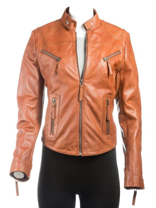 brown jacket, leather jacket