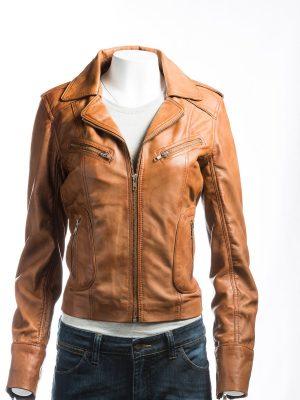 tan leather jacket, women jacket