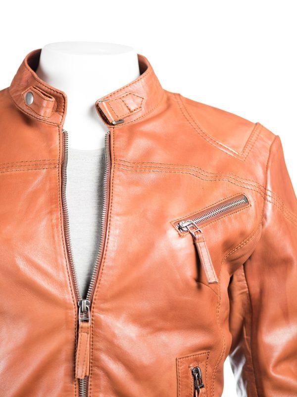 brown leather jacket, women biker jacket