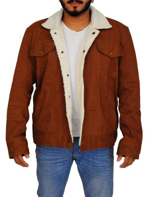 fur collar cotton jacket, brown fur collar men jacket,