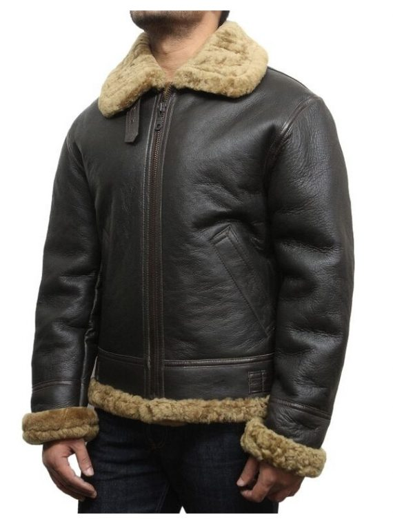 men black shearling leather jacket, men black sheepskin leather jacket,