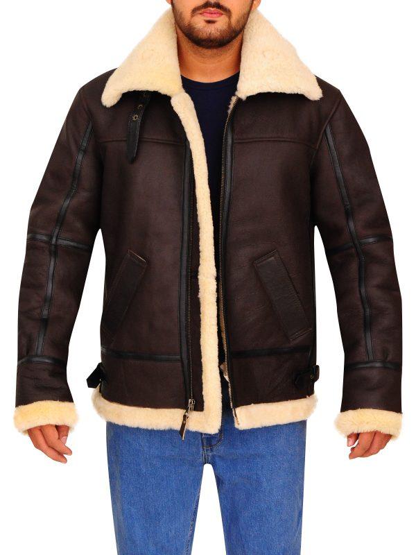 bomber shearling men leather jacket, aviator shearling men leather jacket,