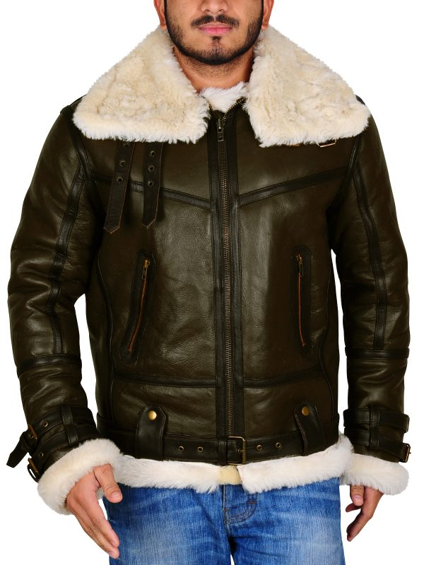 men aviator b3 bomber leather jacket, shearling green fur leather jacket,