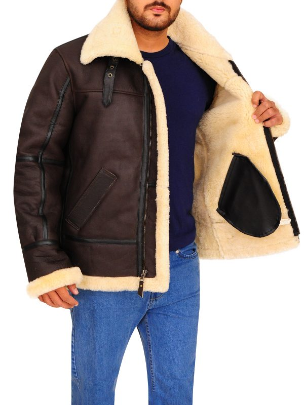 trending b3 bomber leather jacket, men brown shearling leather jacket,