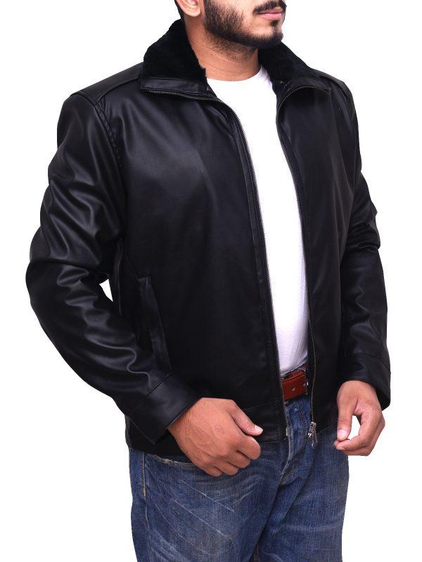 simple black leather jacket, black leather jacket for men,