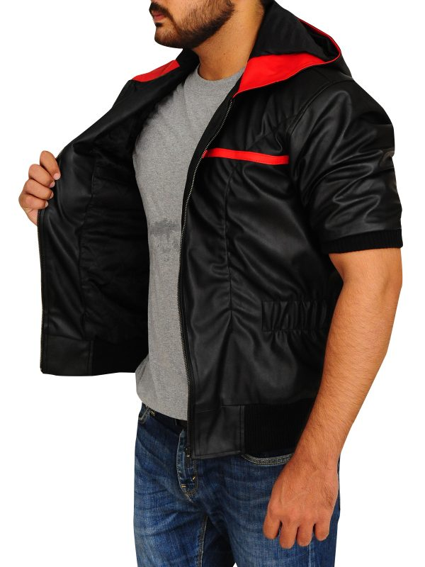stylish leather hoodie for men, men black leather hoodie jacket,