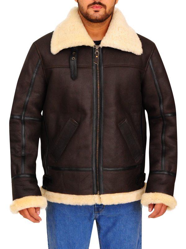 trending brown men real fur leather jacket, real fur men leather jacket,