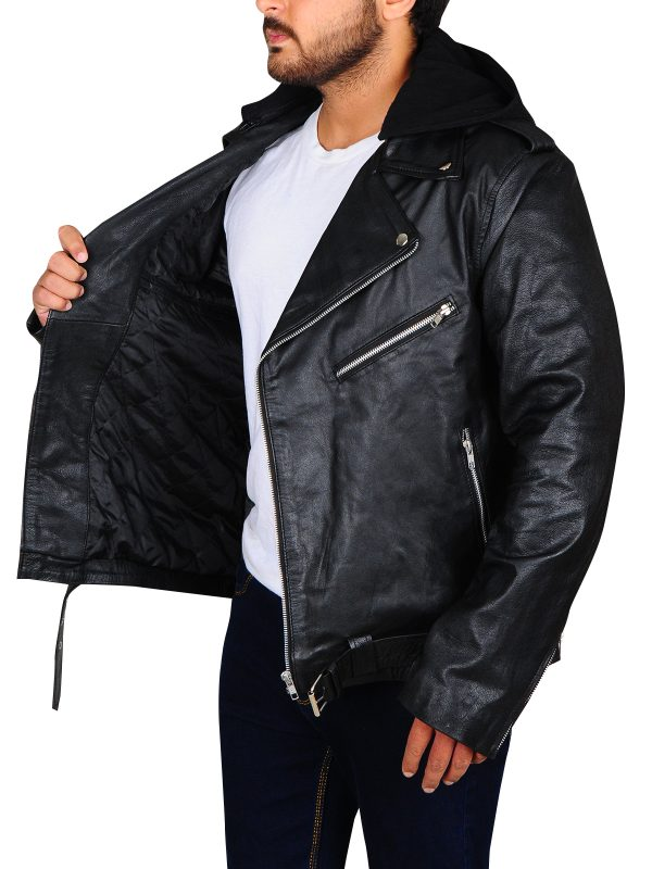 celebrity black leather jacket, men celebrity leather jacket,