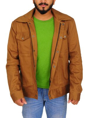 lapel collar jacket, brown men jacket,