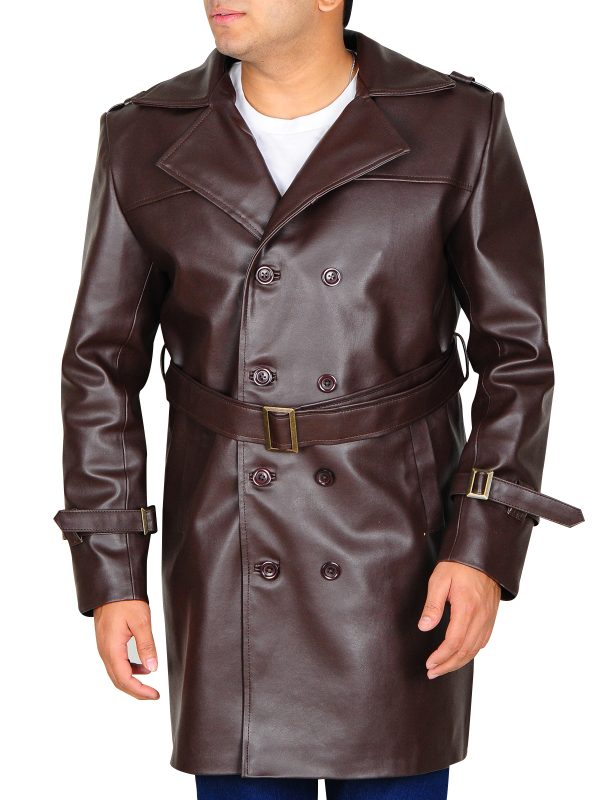 watchmen brown trench coat, brown watchmen leather jacket,